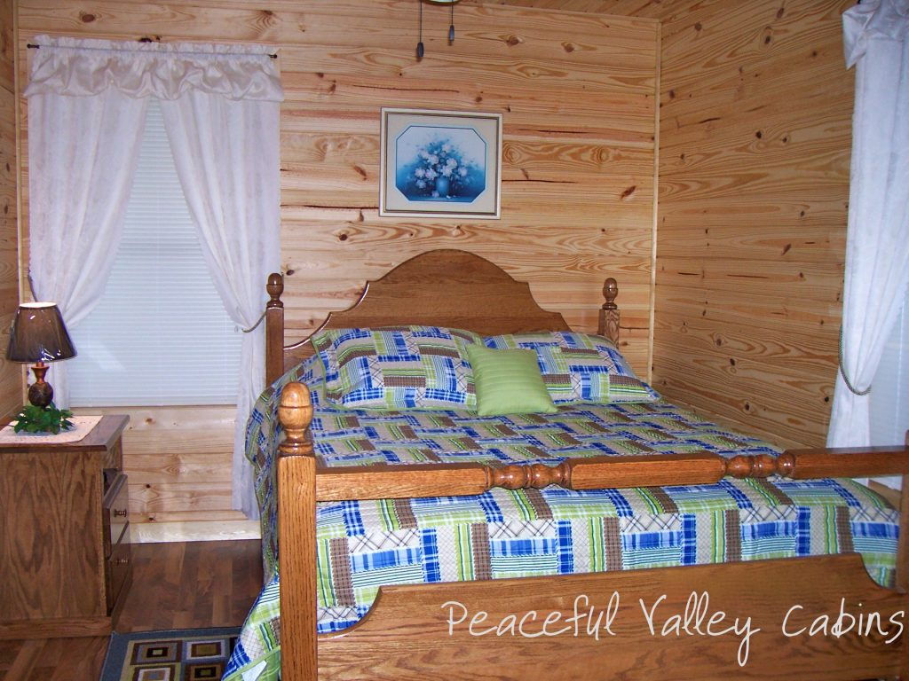 One Bedroom Cabin Bedroom Peaceful Valley Cabins