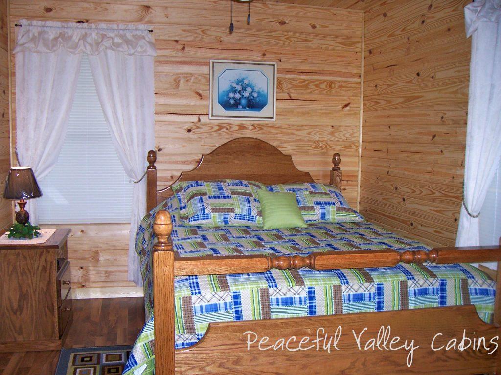 One Bedroom Cabin Bedroom Peaceful Valley Cabins